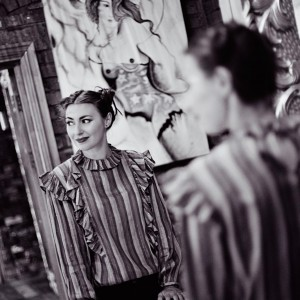 Black and white image - Manchester singer-songwriter Zoe Kyoti reflection in a mirror - Copyright Zoe Kyoti - Official Site